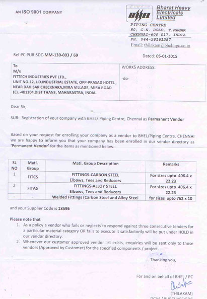 FitTech received BHEL Chennai Approval Letter for manufacturing Steel Pipe Fittings & Flanges